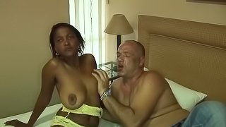 Horny big natural breast african babe gets wild fucked by german guy