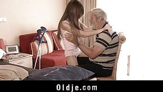 Sick cute teenie mouth cumshot medicine after fucking grandpa big old cock