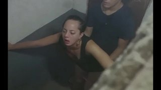 Turning her ass red in toilet (Teen hook up in club)