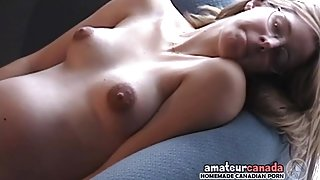 Skinny pregnant country geek fingering pussy wearing glasses