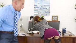 A babe with sexy erect nipples is getting fucked in the office